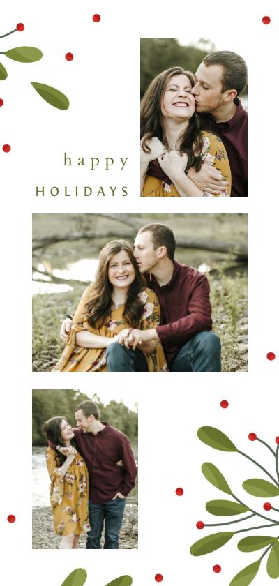 Kerstkaarten - Langwerpige fotocollage kerstkaart met takjes en besjes