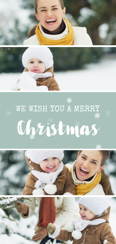 Kerstkaarten - Langwerpige kerstkaart met fotocollage en sneeuwvlokjes
