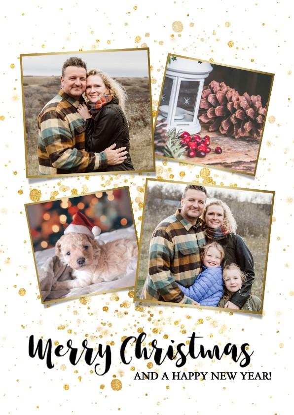 Kerstkaarten - Leuke foto kerstkaart met gouden spetters en typografie