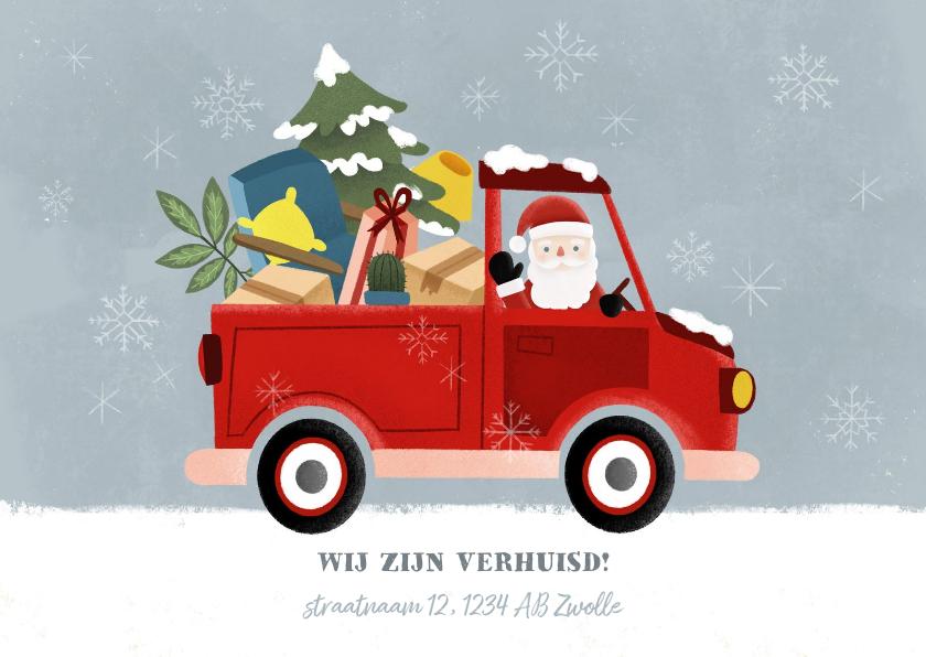 Kerstkaarten - Leuke kerst verhuiskaart met verhuisauto en kerstman
