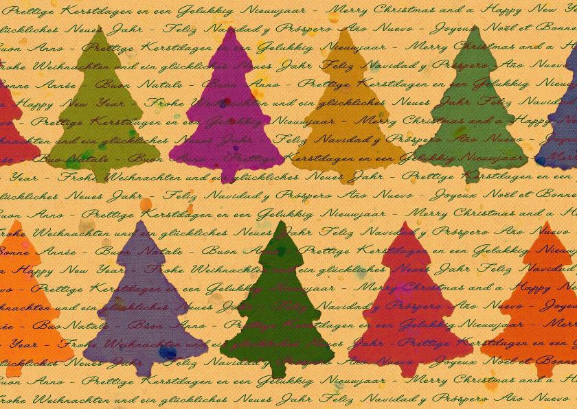 Kerstkaarten - Leuke kerstkaart bomen en teksten in verschillende talen