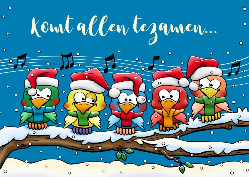 Kerstkaarten - Leuke kerstkaart met 5 zingende vogels op tak in de sneeuw
