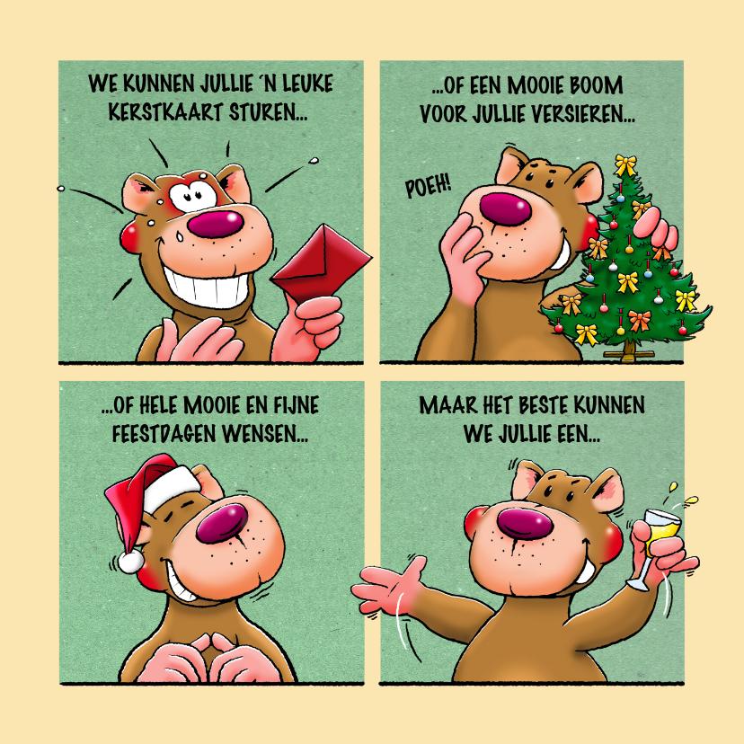 Kerstkaarten - Leuke kerstkaart met beer in 4 groene vlakken