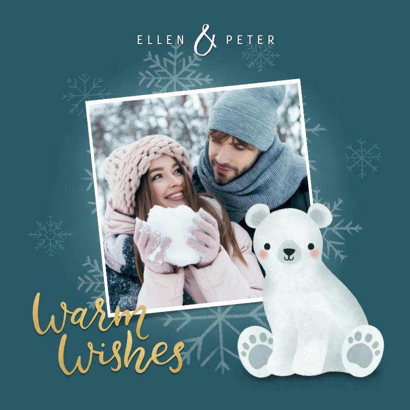 Kerstkaarten - Leuke kerstkaart met foto, ijsbeertje en sneeuwvlokken