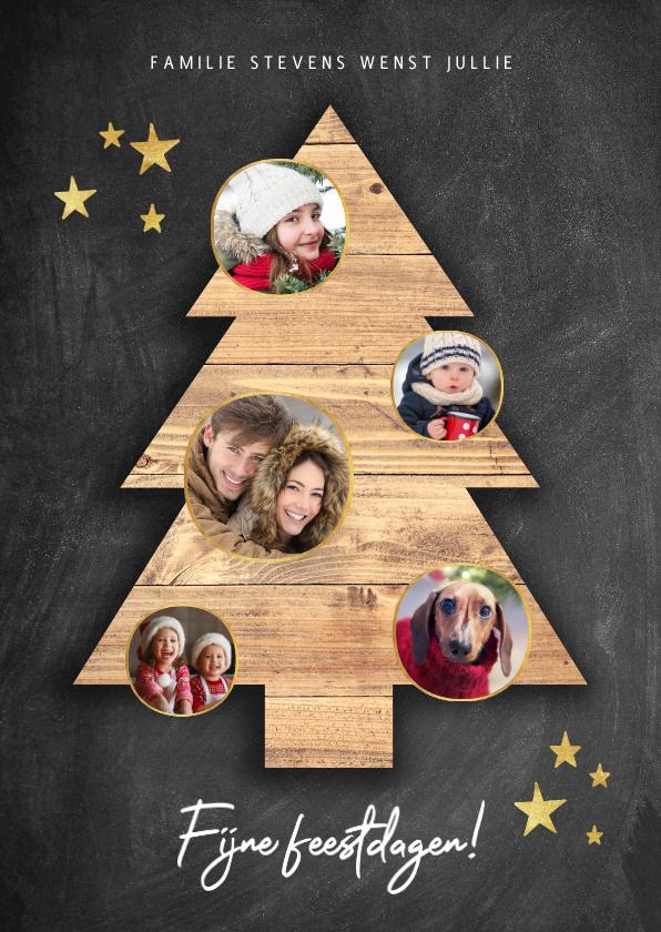 Kerstkaarten - Leuke kerstkaart met houten kerstboom, foto's en krijtbord
