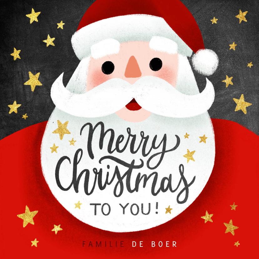 Kerstkaarten - Leuke kerstkaart met kerstman, Merry Christmas en sterren