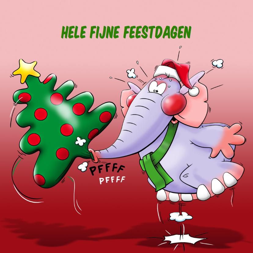 Kerstkaarten - Leuke kerstkaart met olifant en opgeblazen boom