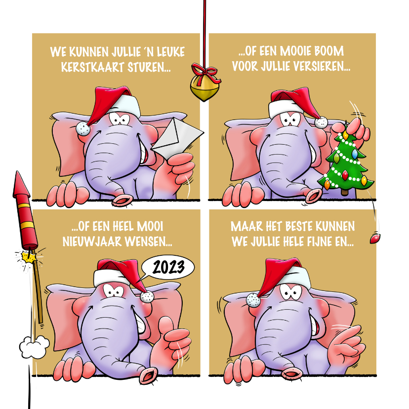 Kerstkaarten - Leuke kerstkaart met olifanten, als stripverhaal.