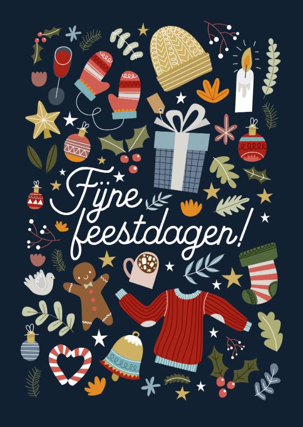 Kerstkaarten - Leuke kerstkaart met vrolijke illustraties en typografie
