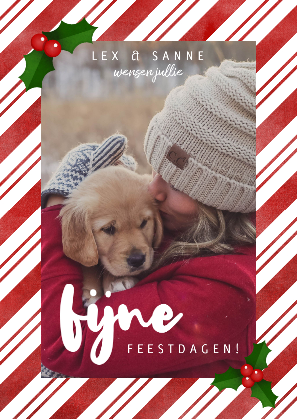 Kerstkaarten - Leuke kerstkaart met zuurstok kader, grote foto & kersthulst