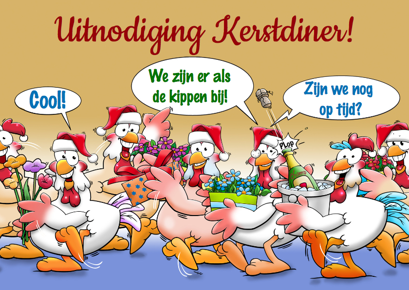 Kerstkaarten - Leuke uitnodiging kerstdiner met kakelende kippen