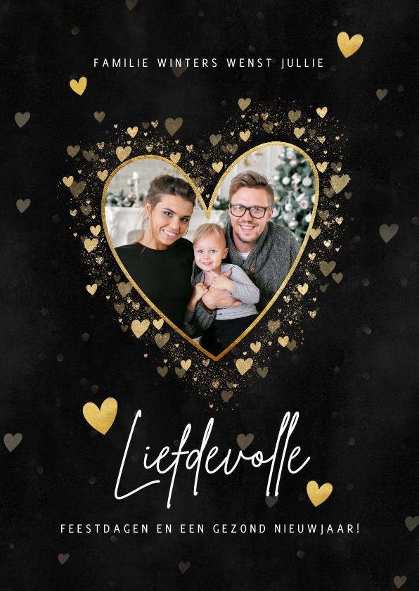 Kerstkaarten - Liefdevolle kerstkaart gouden hartjes, spetters en foto