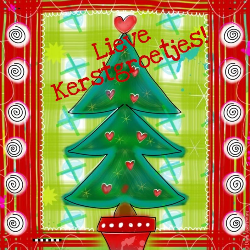 Kerstkaarten - Lieve kerstgroetjes boom met hartjes