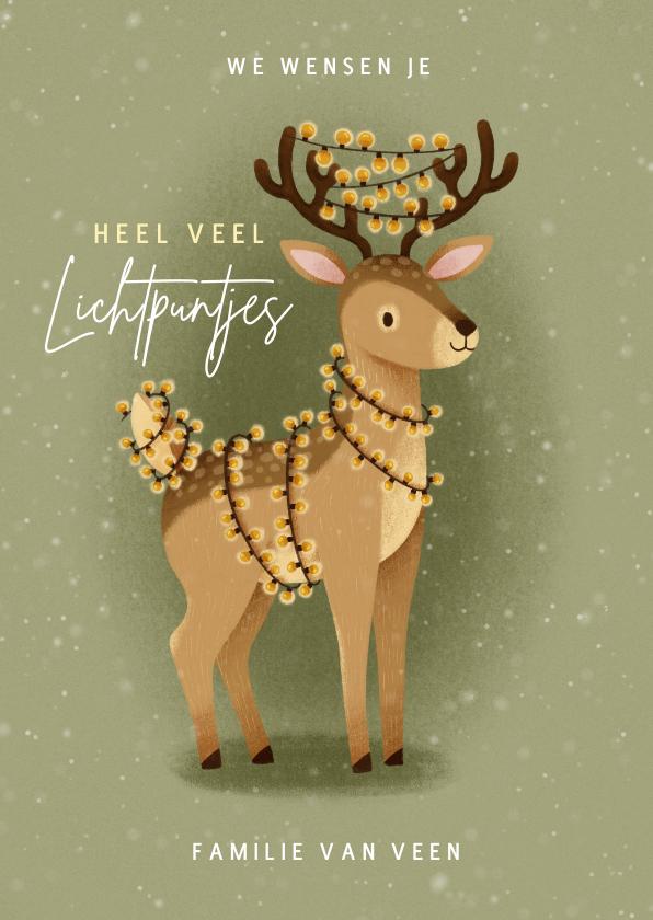 Kerstkaarten - Lieve kerstkaart lichtpuntjes met hert en kerstlampjes