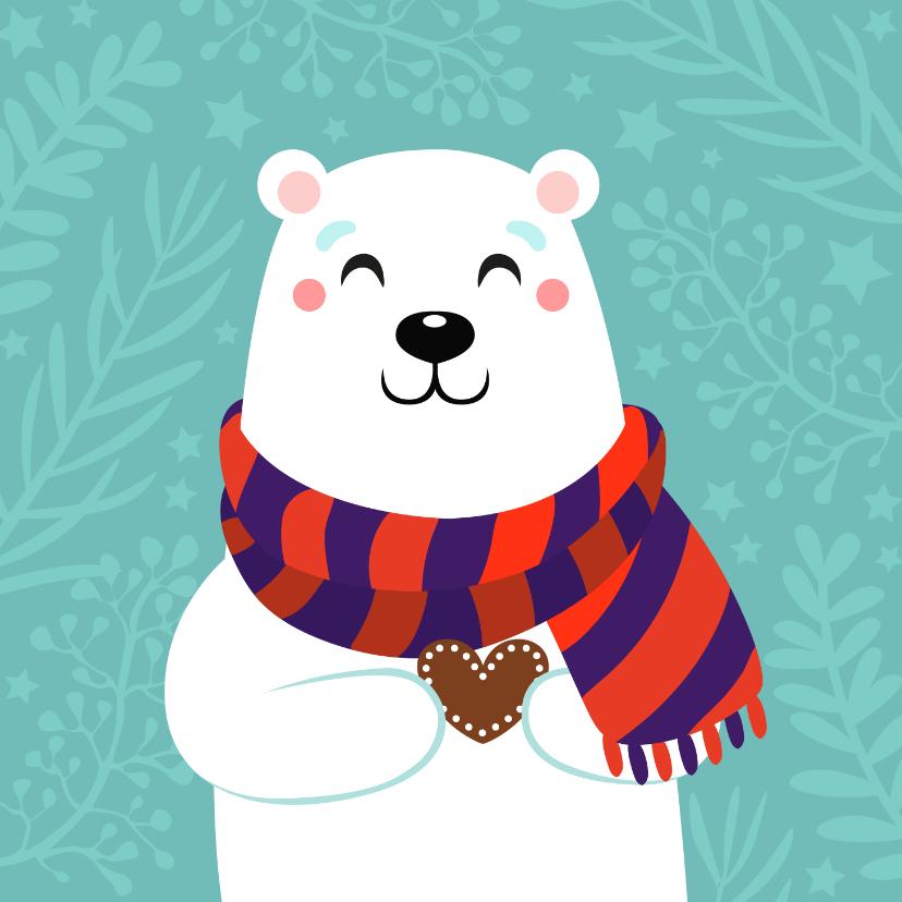 Kerstkaarten - Lieve kerstkaart met ijsbeer met hartje