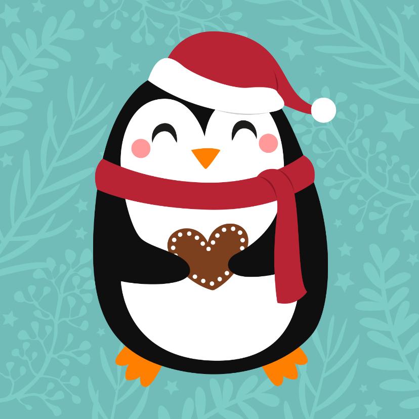Kerstkaarten - Lieve kerstkaart met pinguin en hartje