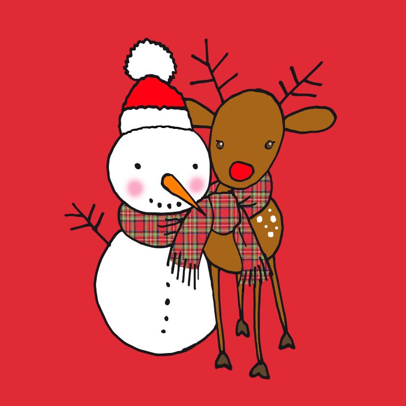 Kerstkaarten - Lieve kerstkaart met sneeuwpop en rendier