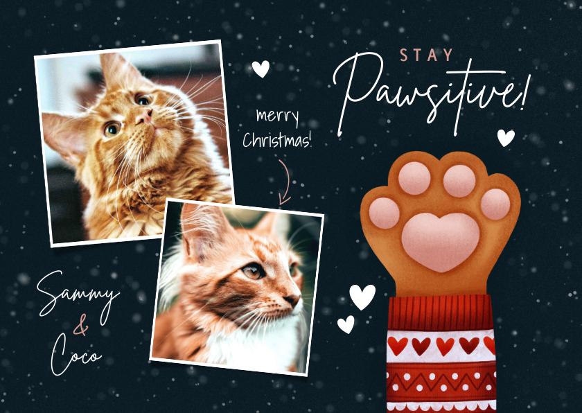 Kerstkaarten - Lieve kerstkaart Stay Pawsitive, kattenpootje en foto's