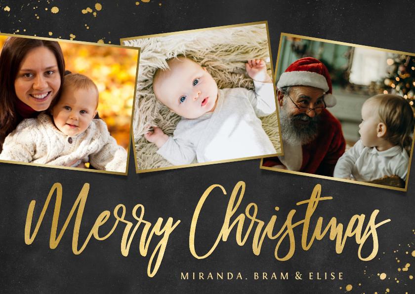 Kerstkaarten - Liggende fotocollage kerstkaart zwart met goud en 3 foto's