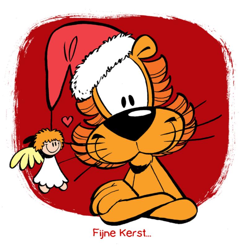 Kerstkaarten - Loeki de Leeuw kerstengel muts