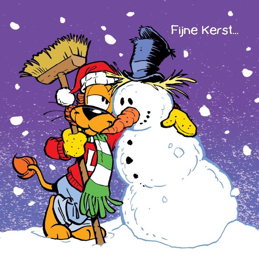 Kerstkaarten - Loeki de Leeuw met sneeuwman