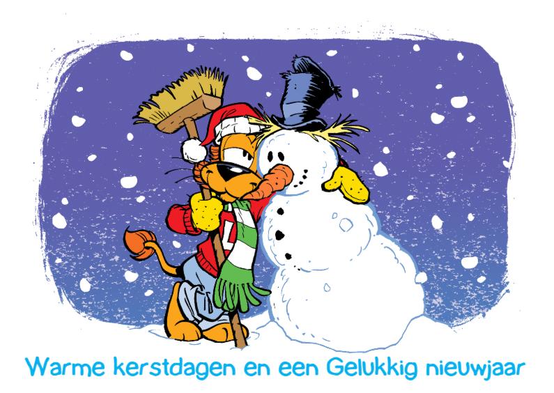 Kerstkaarten - Loeki de Leeuw met sneeuwpop
