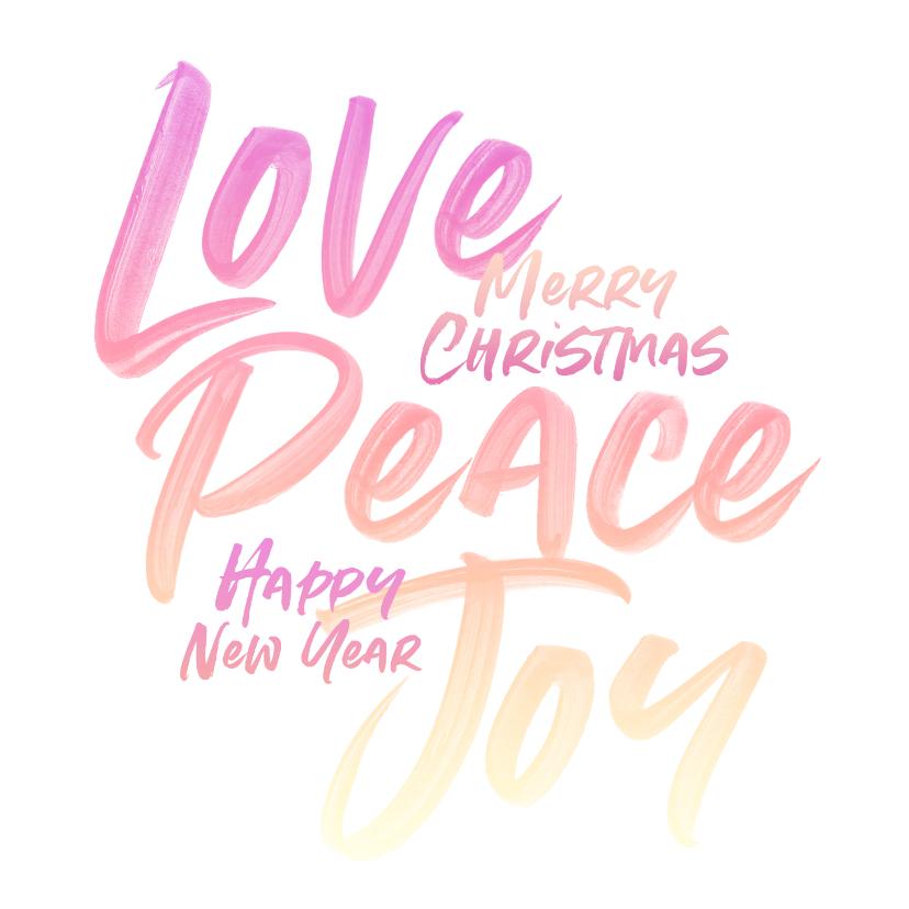 Kerstkaarten - Love Peace Joy kerstkaart typografie