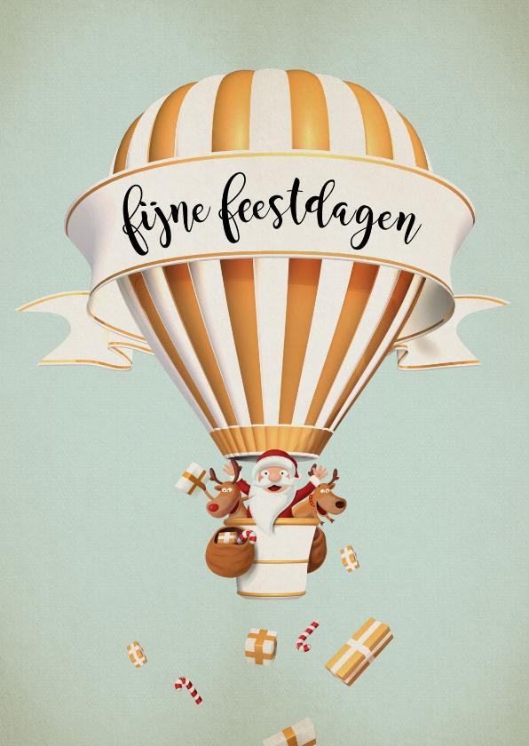 Kerstkaarten - Luchtballon in wit met goud met kerstman en rendiertjes