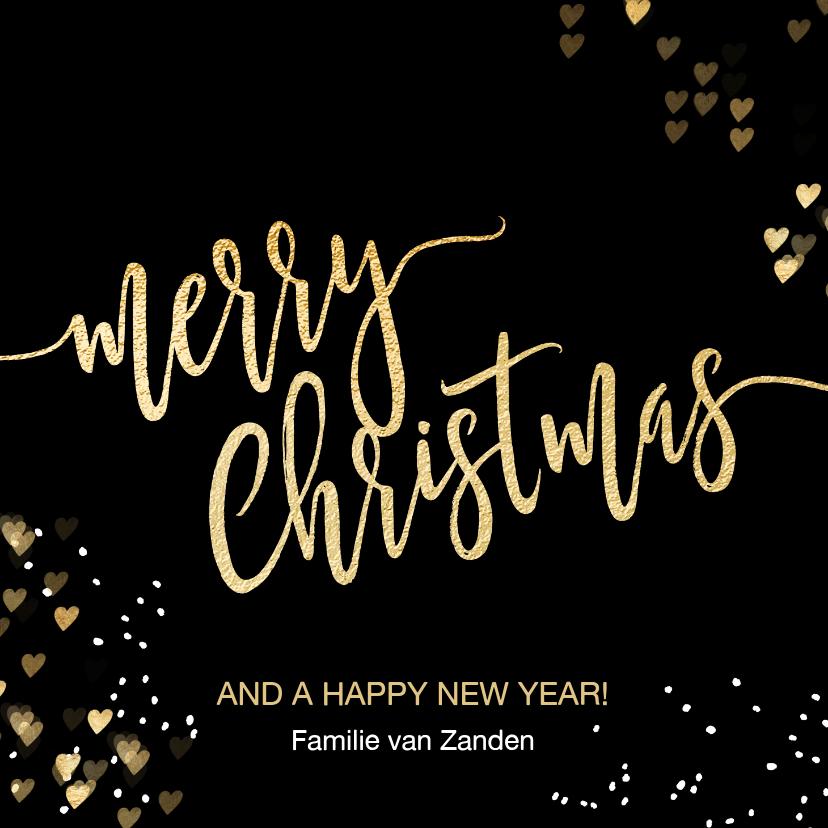 Kerstkaarten - Luxe kerstkaart zwart goud Merry Christmas