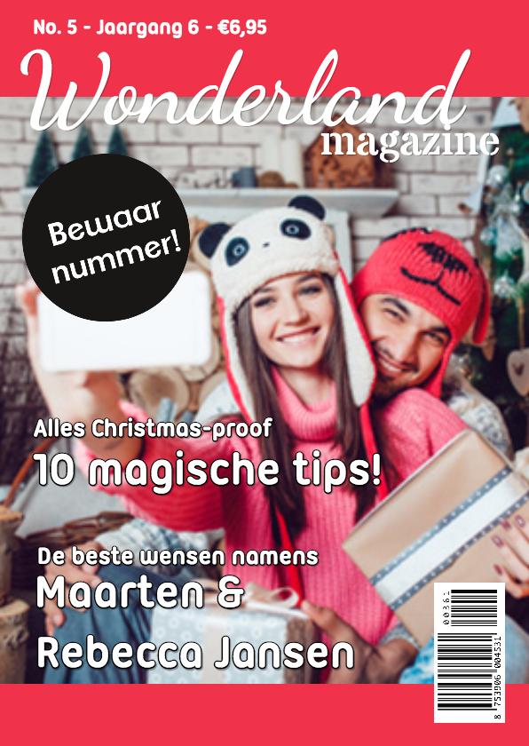 Kerstkaarten - Magazine kerstkaart roze - DH