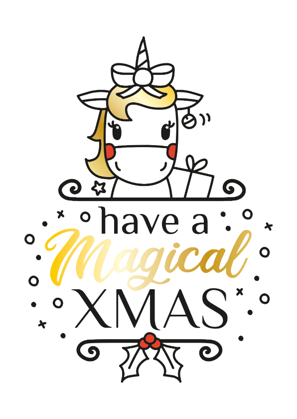 Kerstkaarten - Magical christmas eenhoorn kerstkaart