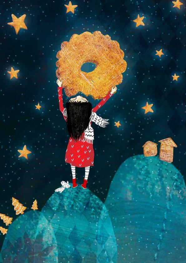 Kerstkaarten - magisch kerstkaartje met een koekjes maan