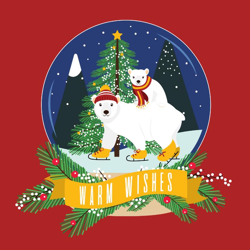 Kerstkaarten - Mama ijsbeer en haar jonkie wensen jullie fijne dagen toe
