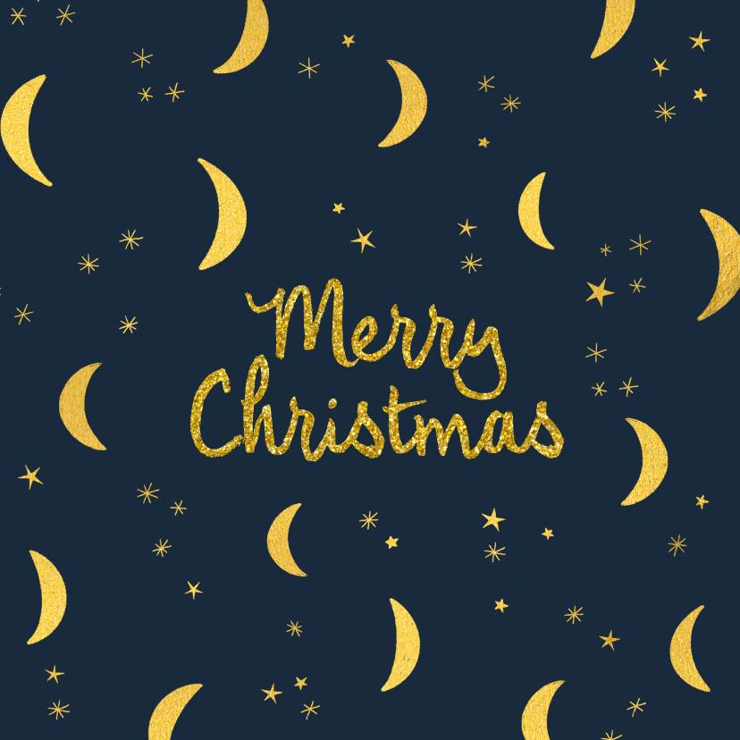 Kerstkaarten - Manen en sterren in goudlook