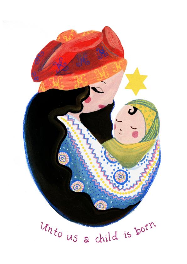 Kerstkaarten - Maria met kind