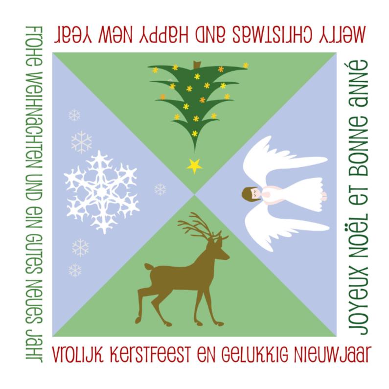 Kerstkaarten - Meertalig rendier-engel-boom-sneeuw
