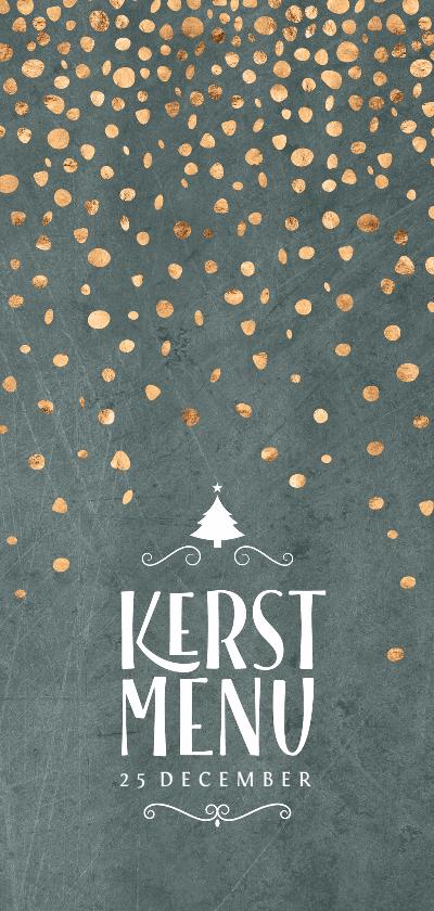 Kerstkaarten - Menukaart kerst groen met confetti