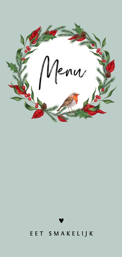 Kerstkaarten - Menukaart kerstdiner met kerstblaadjes en roodborstje