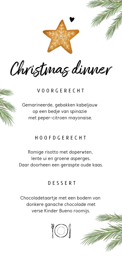 Kerstkaarten - Menukaart kerstdiner met kerstkoekje en takjes