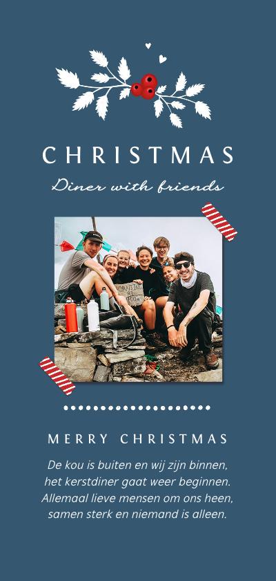 Kerstkaarten - Menukaart kerstdiner vrienden familie met foto