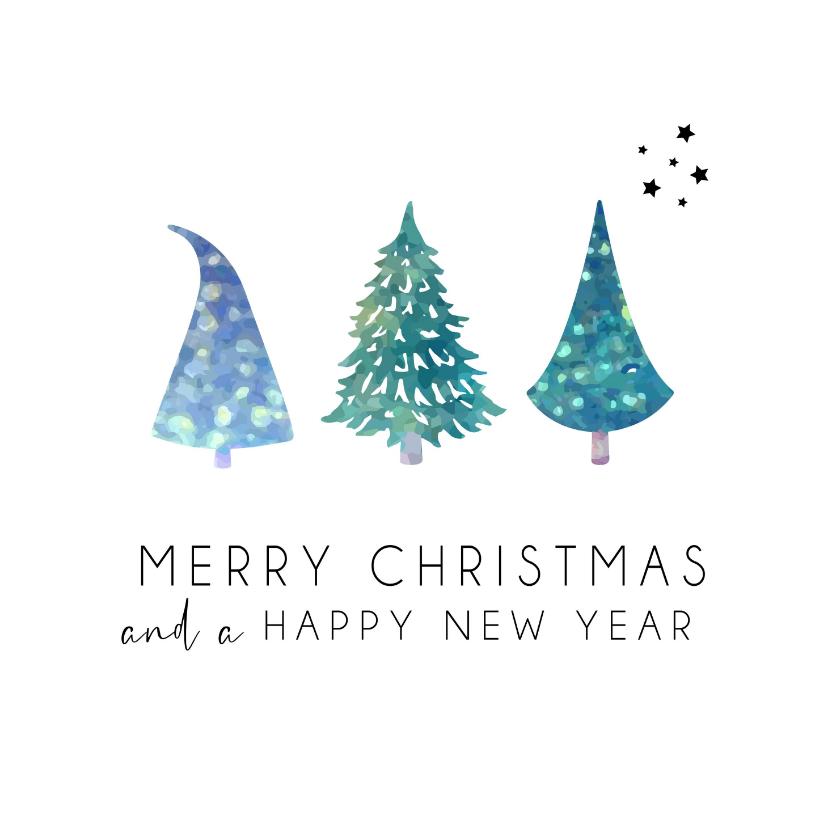 Kerstkaarten - Merry Christmas and a happy new year kerstbomen