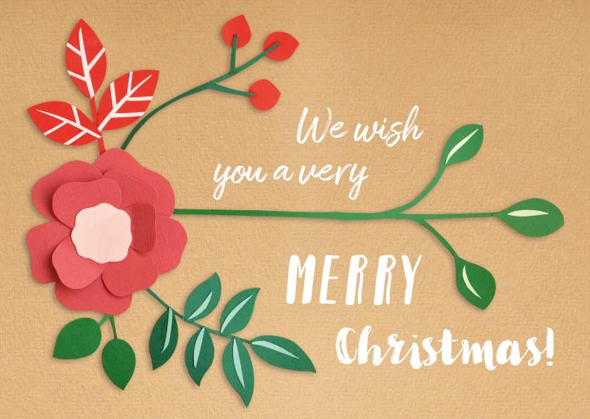 Kerstkaarten - Merry Christmas botanical
