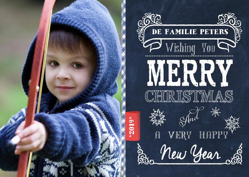 Kerstkaarten - Merry Christmas Chalkboard BLAUW