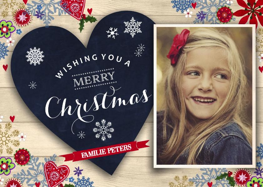 Kerstkaarten - Merry Christmas Chalkboard Hout