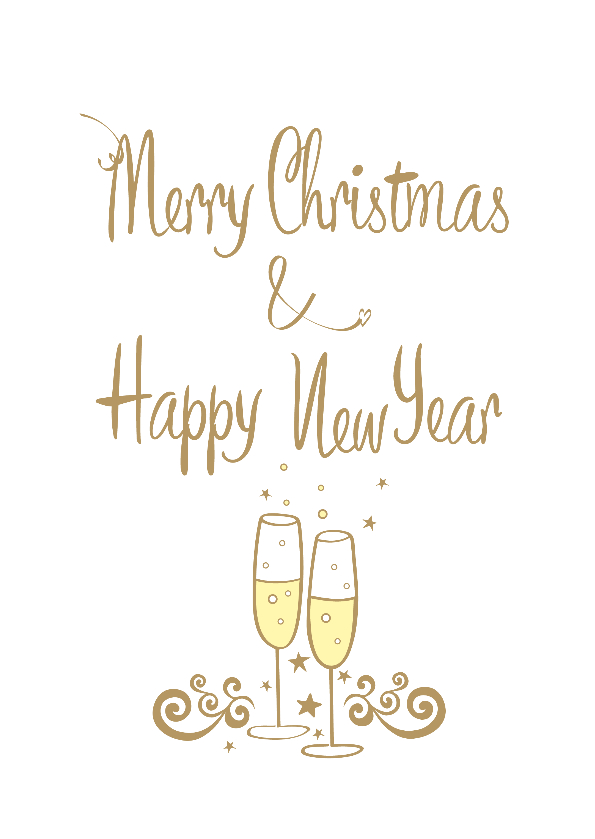 Kerstkaarten - Merry Christmas & Happy New Year champagne bubbles