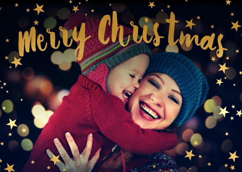 Kerstkaarten - Merry Christmas geel 1 foto