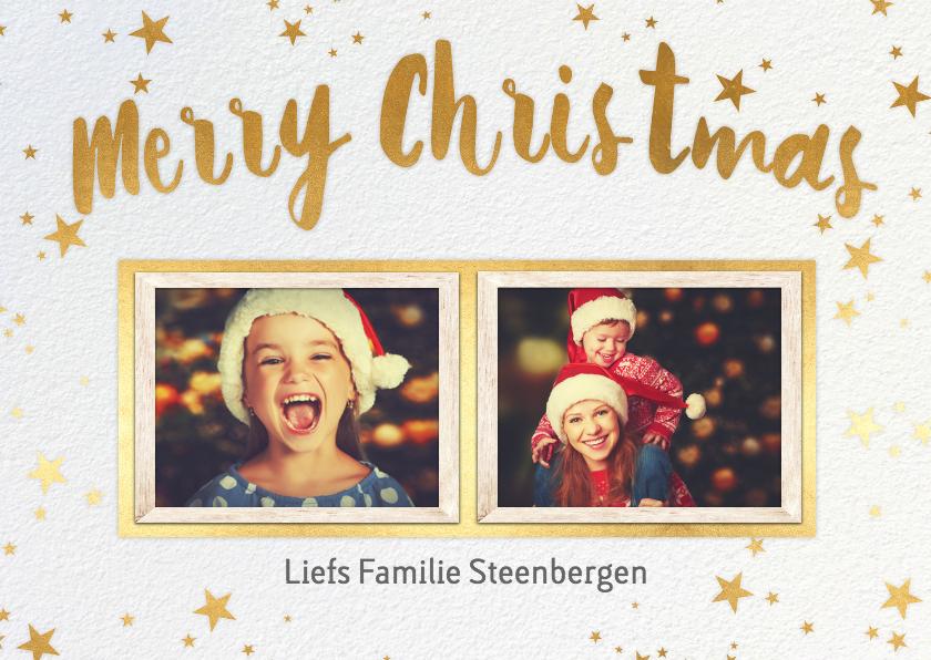 Kerstkaarten - Merry Christmas geel foto's