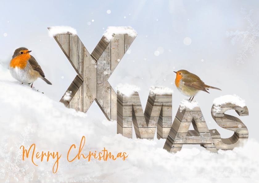 Kerstkaarten - Merry Christmas-houten letters