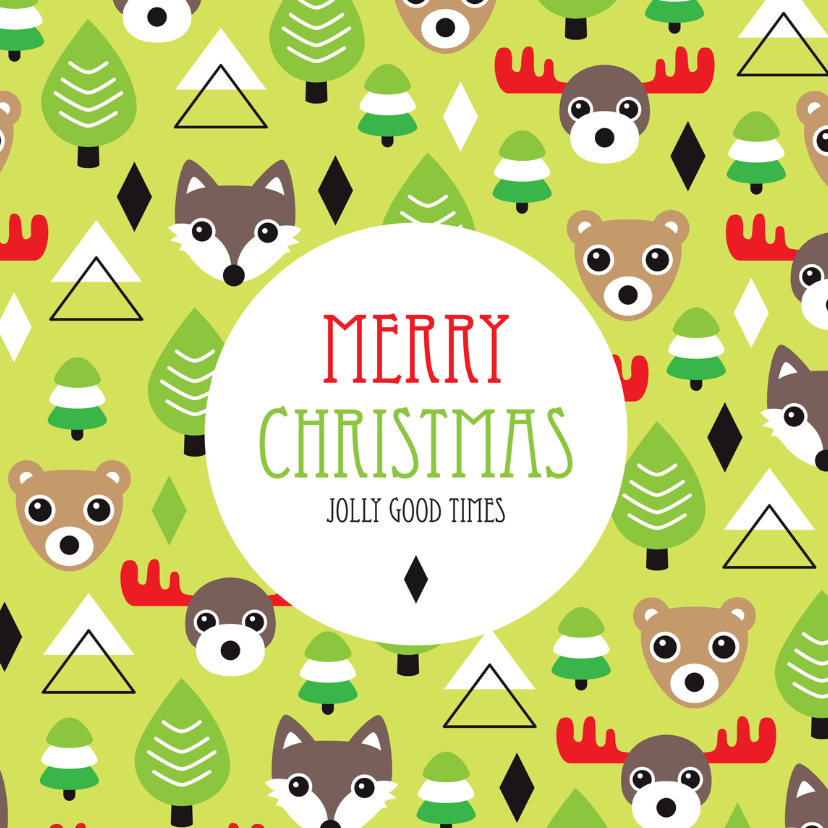 Kerstkaarten - Merry Christmas illustratie dier