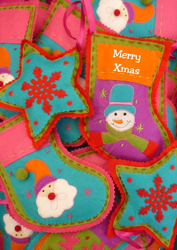 Kerstkaarten - Merry Christmas kerstsokken
